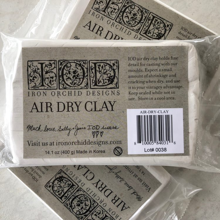 Have fun adding texture to your projects with these Iron Orchid Designs Decor -Air Dry Clay and it works perfectly with our Decor Moulds | www.raggedy-bits.com | #raggedybits #IOD #DIY #AirDryClay #texture