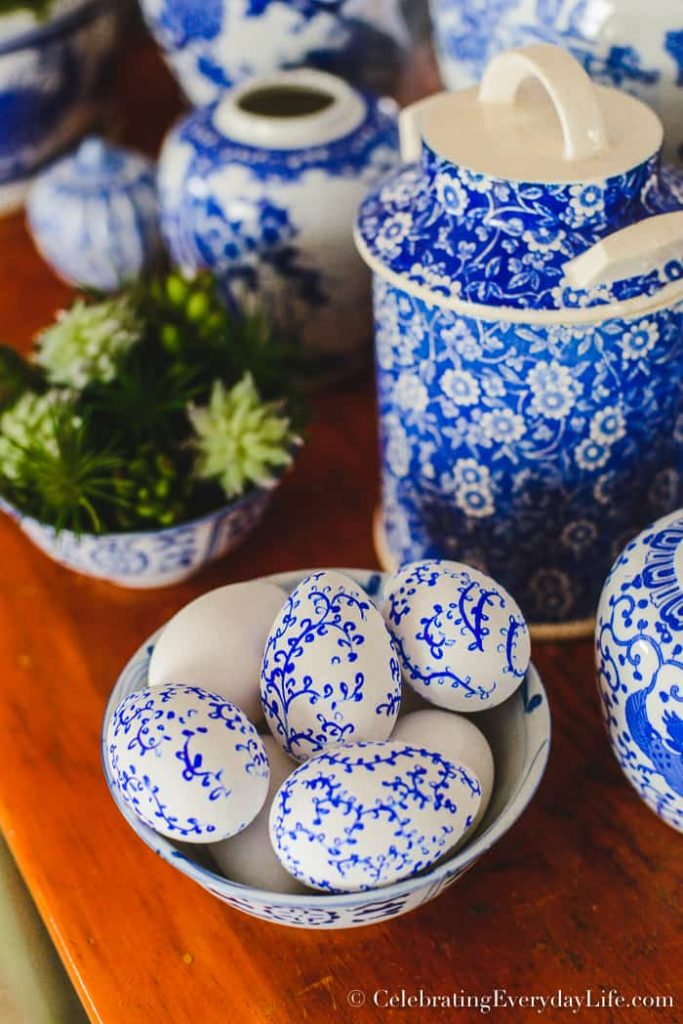 How To Make Beautiful & Easy Chinoiserie Easter Eggs which is a feature for Waste Not Wednesday-145 by Celebrating Everyday Life | www.raggedy-bits.com