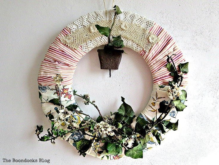 A Almond Wreath For Spring which is a feature for Waste Not Wednesday-147 by Boondocks Blog | www.raggedy-bits.com