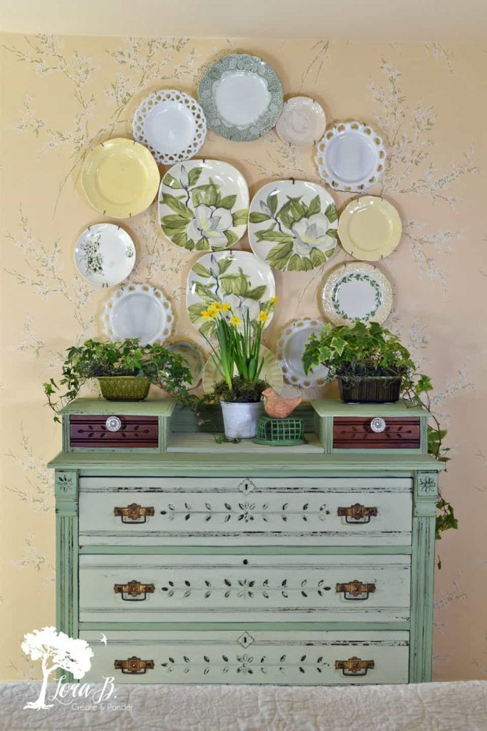 Dresser Makeover in Vintage Green which is a feature for Waste Not Wednesday-148 by Lora B. Create & Ponder | www.raggedy-bits.com