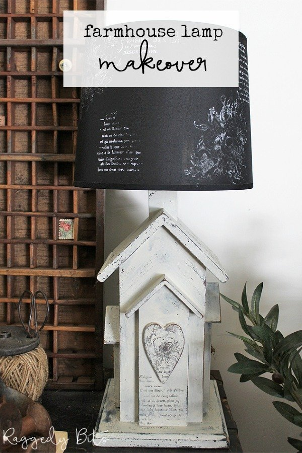 Sharing how to give a dated lamp a fresh new farmhouse look, using Sweet Pickins Milk Paint and IOD Decor Stamps   Farmhouse Lamp Makeover   www.raggedy-bits.com   #raggedybits #DIY #repurpose #upcycle #farmhouse #vintage #sweetpickinsmilkpaint #IODDecorStamps