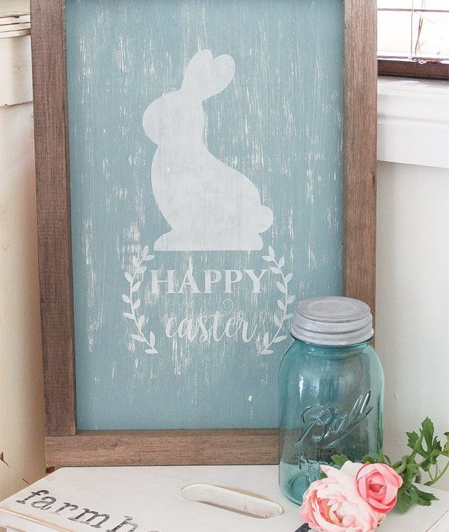 Hand made from quality supplies this Happy Easter Sign is sure to bring some fun whimsical touches to your Easter Decor | Vintage Farmhouse Happy Easter Sign | www.raggedy-bits.com | #raggedybits #easterdecor #sign #farmhouse #vintage #handmade