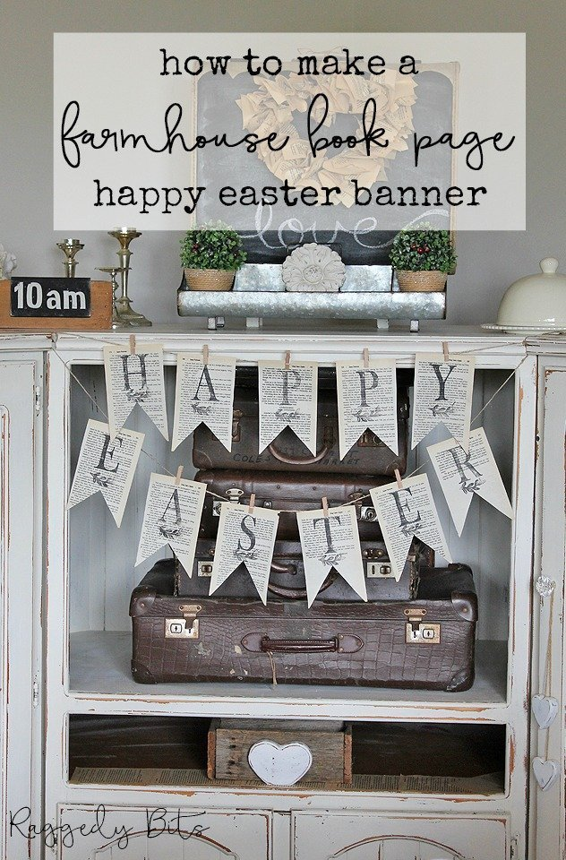 Sharing how to make a Farmhouse Book Page Easter Banner that you to can make in one afternoon | www.raggedy-bits.com | #raggedybits #DIY #homedecor #farmhouse #vintage #decorations #easter #banner #repurpose #IODDecorStamps #typesetting