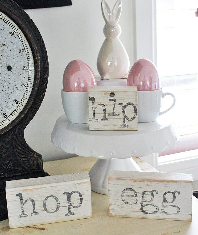 Turn scrap pieces of wood into some fun Easter Decor to decorate with | How To Make Farmhouse Easter Blocks | www.raggedy-bits.com | #raggedybits #DIY #eastercraft #farmhouse #FusionMineralPaint #IODDecorstamps