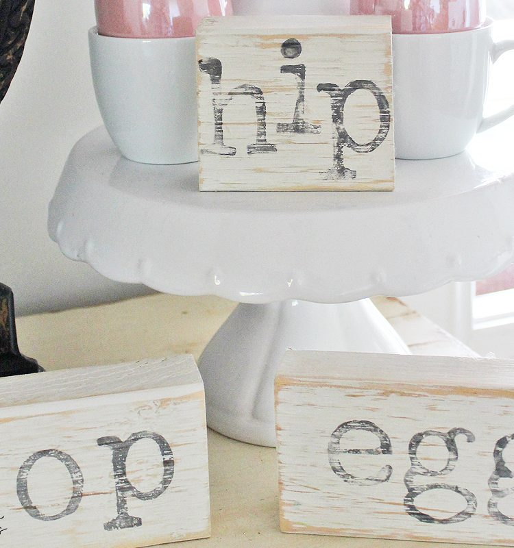 Using some scrap wood and some IOD Decor Stamps and Fusion Mineral Paint - Raw Silk sharing How To Make Farmhouse Easter Blocks that you can make to. Fun gift ideas too | www.raggedy-bits.com | #raggedybits #DIY #easter #blocks #farmhouse #IODDecorStamps #FusionMineralPaint #craft #homedecor