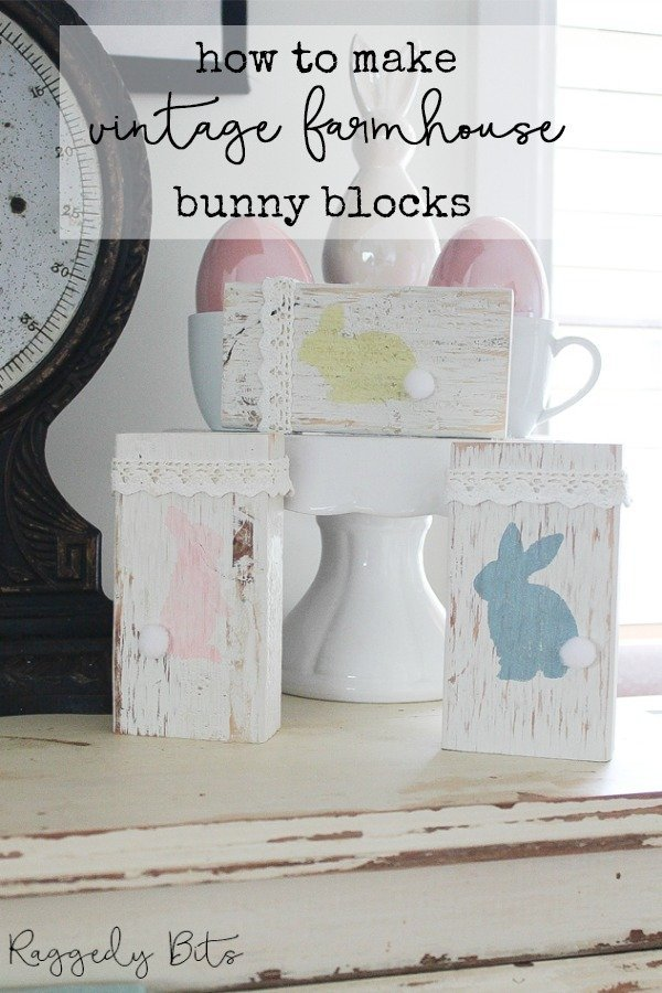 Looking for a really easy Easter Craft to paint? These Bunny blocks can be made in one afternoon using scrap wood and some paint   How To Paint Farmhouse Bunny Blocks   www.raggedy-bits.com   #raggedybits #diy #vintage #farmhouse #blocks #bunny #eastercraft #fusionmineralpaint