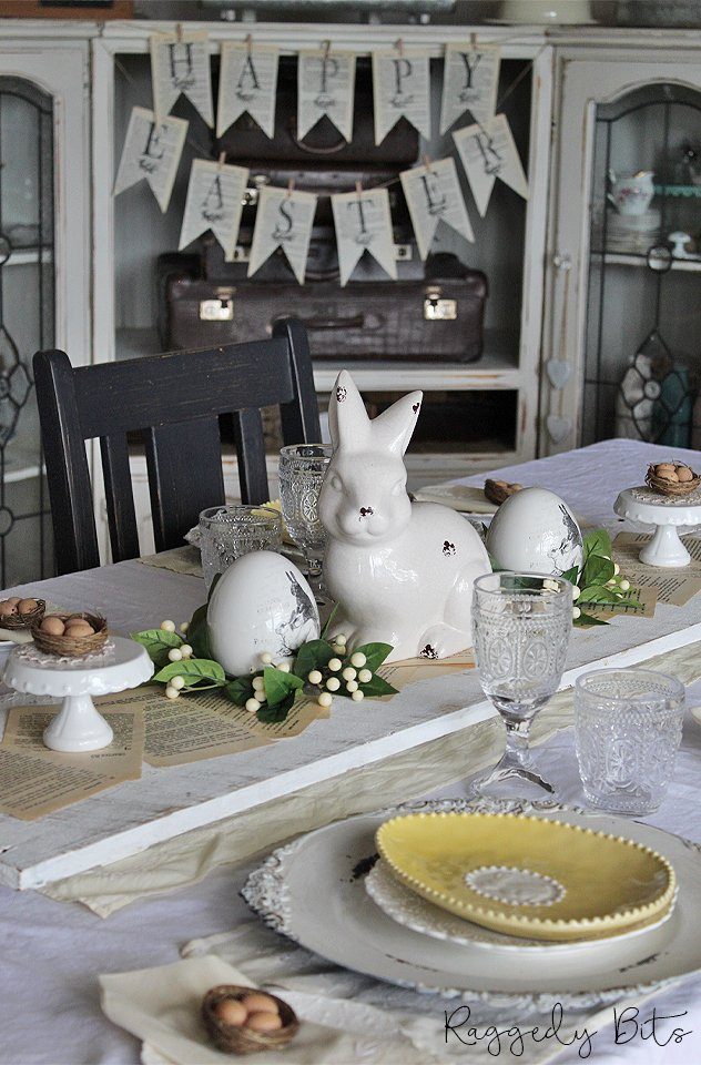 Using my Granny's linen I'm sharing how to make a Lemon Vintage Farmhouse Easter Tablescape   www.raggedy-bits.com   #raggedybits #tablescape #vintage #farmhouse #linen #lemon #easter