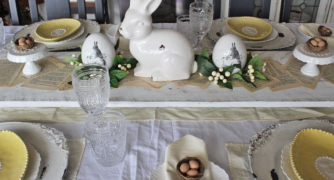 Using my Granny's linen I'm sharing how to make a Lemon Vintage Farmhouse Easter Tablescape | www.raggedy-bits.com | #raggedybits #tablescape #vintage #farmhouse #linen #lemon #easter