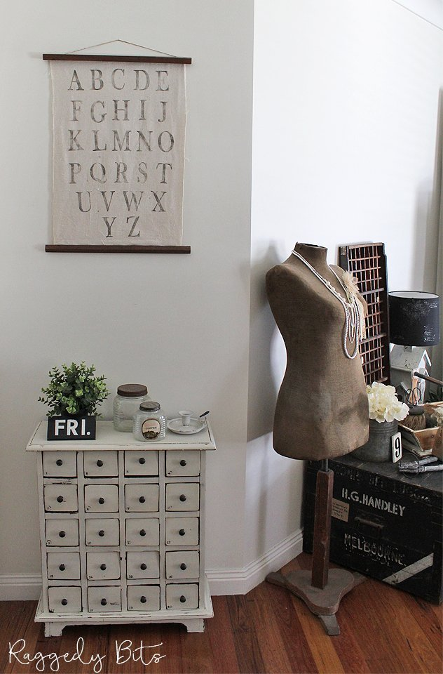 Add some Vintage Farmhouse Charm to your home and make a fun Alphabet Hanger using some linen or drop cloth and some Decor Stamps | www.raggedy-bits.com | #raggedybits #DIY #farmhouse #vintage #walldecor #repurpose #upcycle #IODDecorStamps