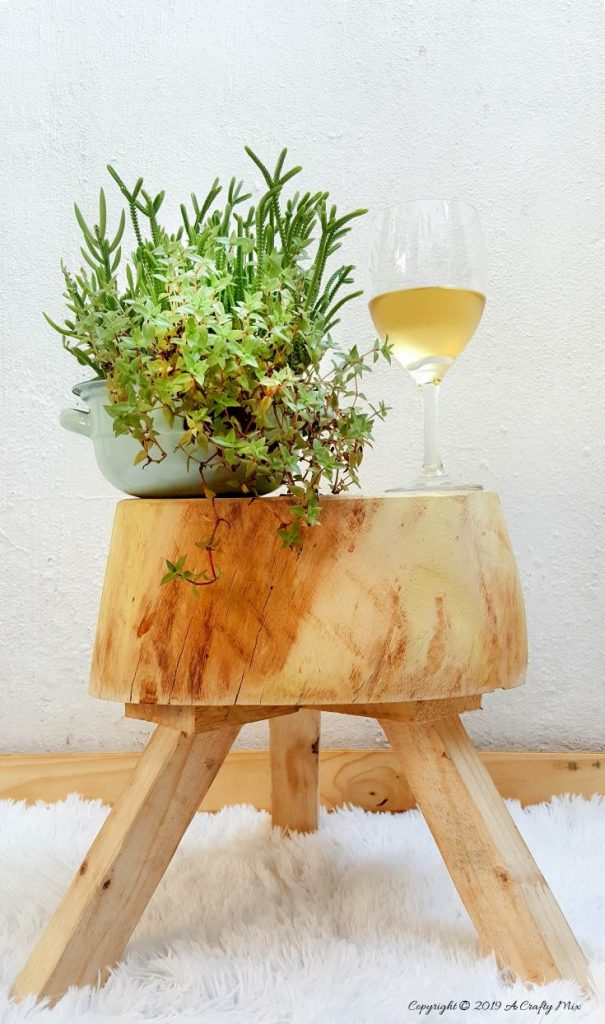 From Tree Stump To Wooden Stool which is a feature for Waste Not Wednesday-149 by A Crafty Mix | www.raggedy-bits.com