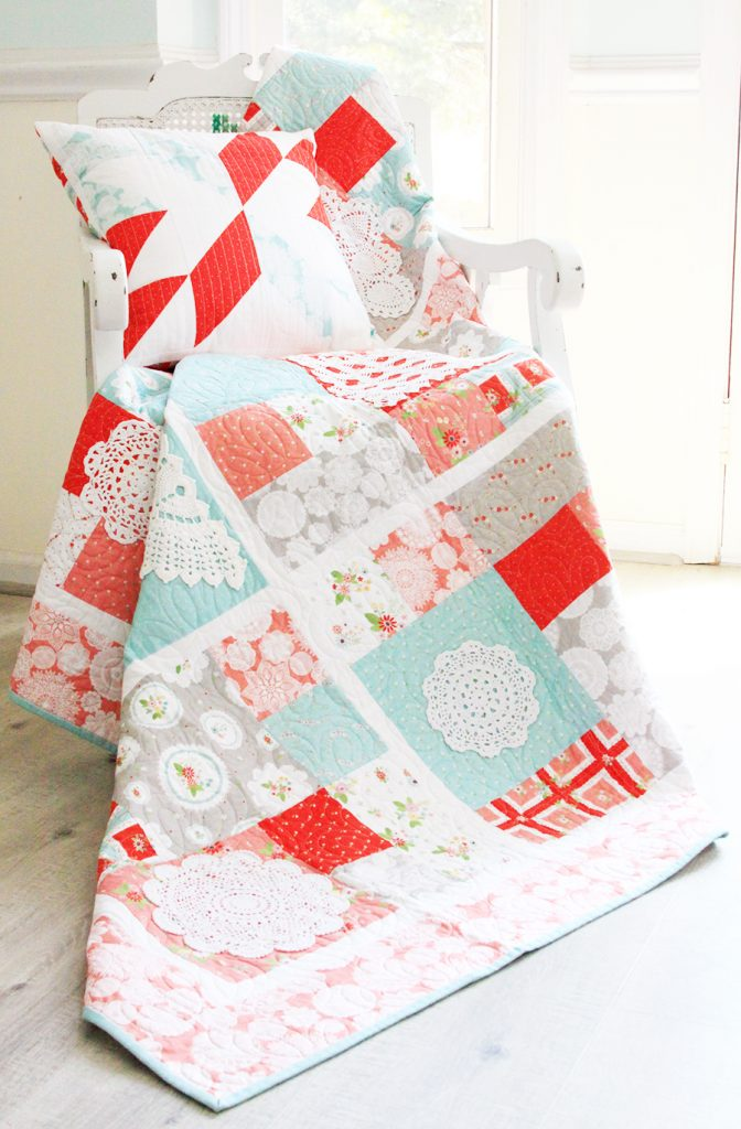 Vintage Doily Keepsake Quilt which is a feature for Waste Not Wednesday-150 by Flamingo Toes    www.raggedy-bits.com