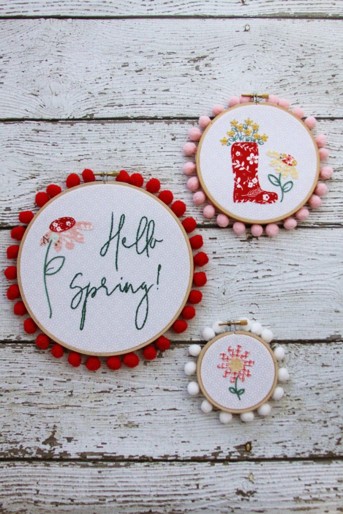 Floral Spring Embroidery Hoop Set which is a feature for Waste Not Wednesday-151 by Flamingo Toes | www.raggedy-bits.com