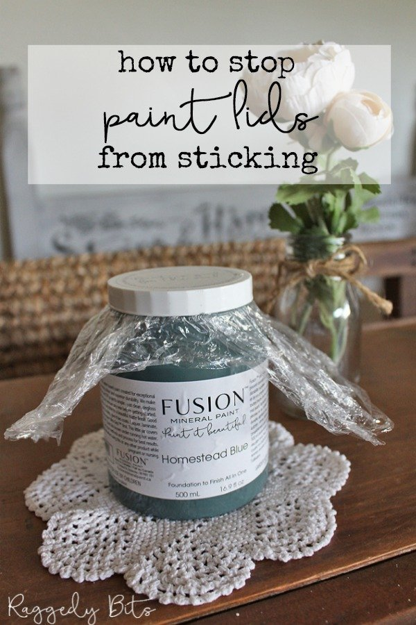 Welcome back for our second week of Quick Painting Tip Tuesday. This week it's all about how to stop paint lids sticking | www.raggedy-bits.com | #raggedybits #painting #tip #fusionmineralpaint #sweetpickinsmilkpaint #missmustardseedmilkpaint #DIY #farmhouse