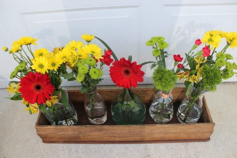 Easy Farmhouse Decor: Glass Bottle Flower Arrangement which is a feature for Waste Not Wednesday-153 by Busy Lifestyle Gal | www.raggedy-bits.com