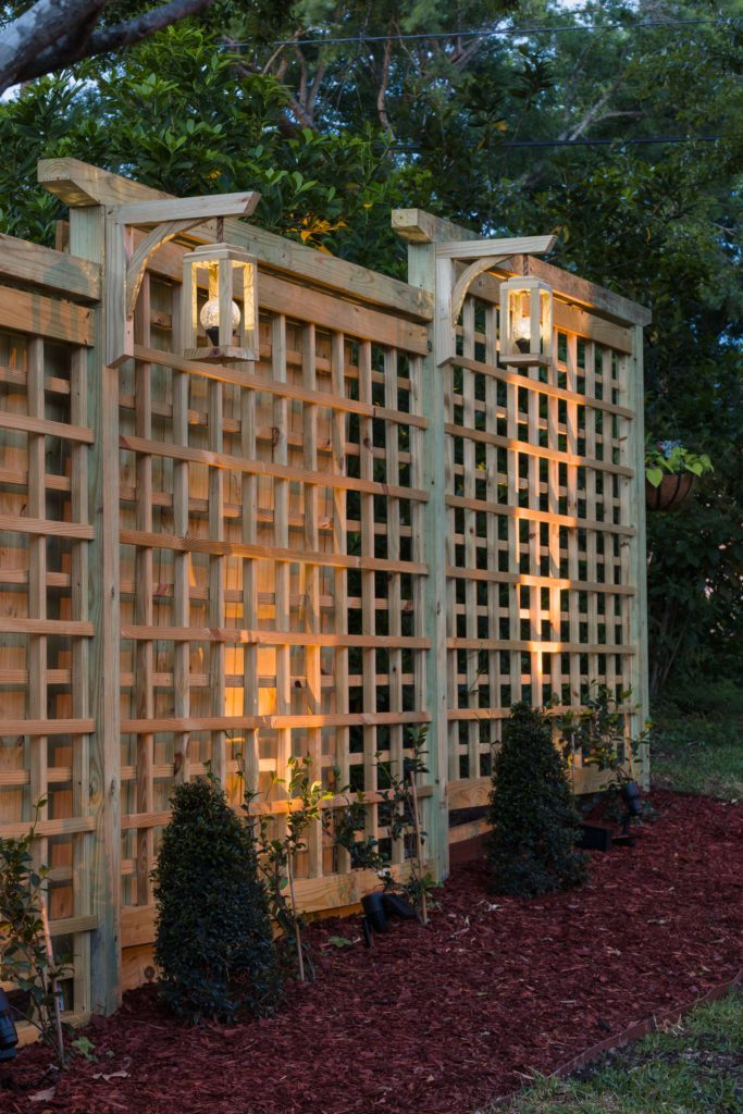 DIY Garden Screen Trellis, Solar Light Lanterns and Free Plans which is a feature for Waste Not Wednesday-155 by Kippi At Home | www.raggedy-bits.com