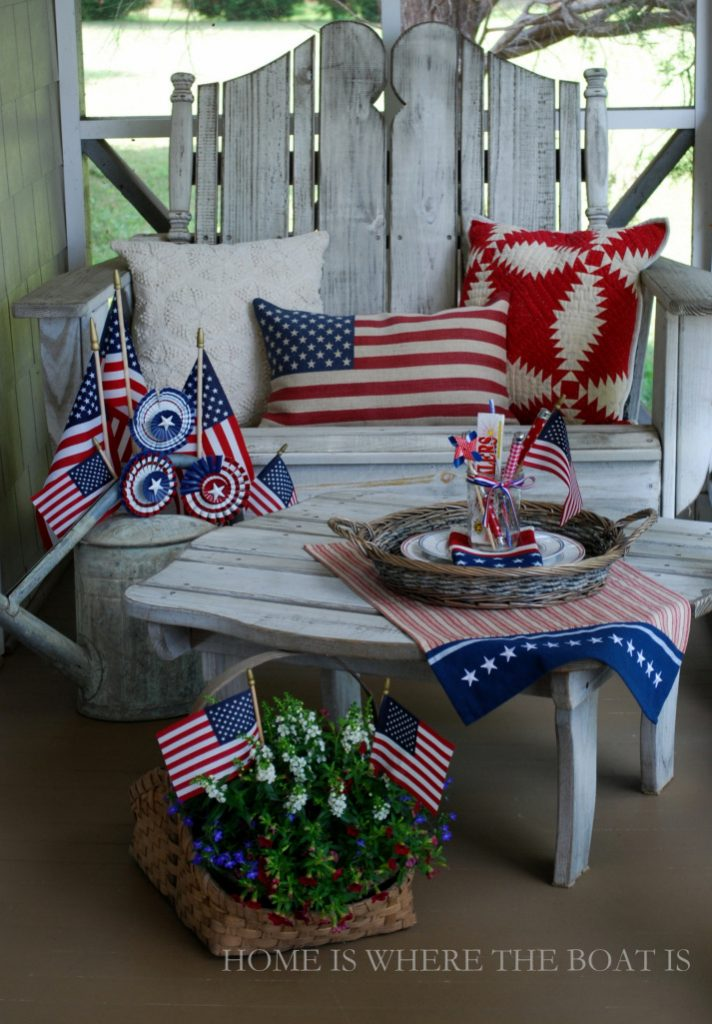 Patriotic Porch Decor With Vintage which is a feature for Waste Not Wednesday-158 by Sweet Pea | www.raggedy-bits.com