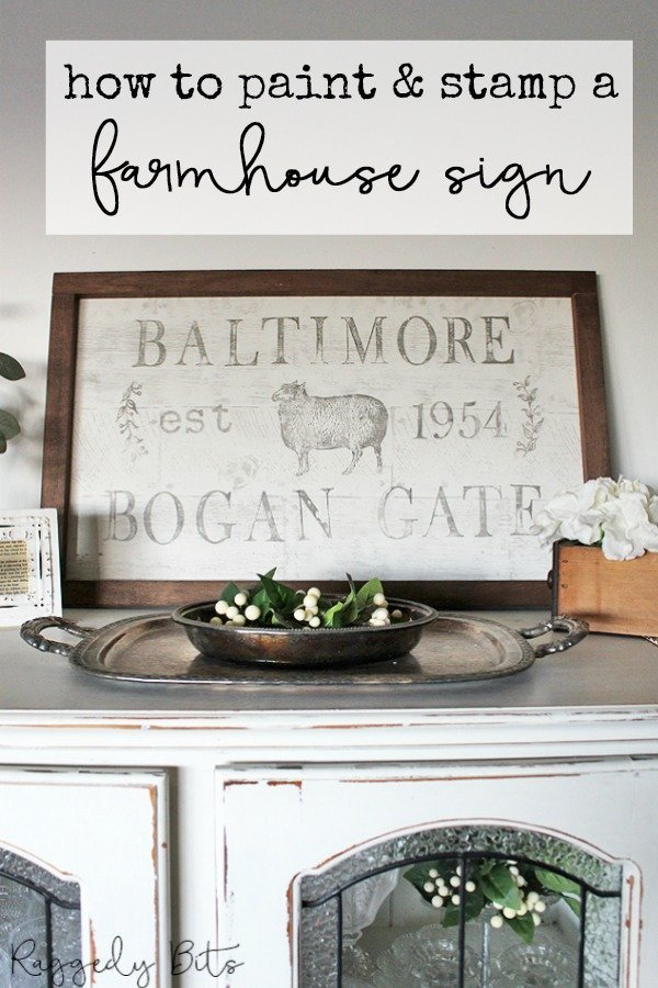 Using some IOD Decor Stamps, Fusion Mineral Paint and plywood sharing how to paint and stamp a farmhouse sign | www.raggedy-bits.com | #raggedybits #diy #homedecor #vintage #farmhouse #IODDecorstamps #fusionmineralpaint #sign