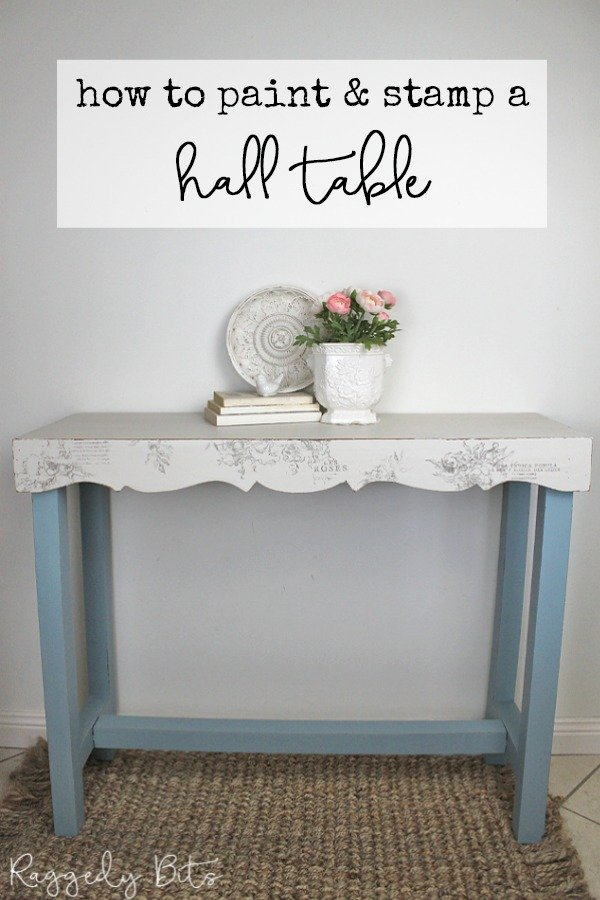 Looking for some inspiration to refresh an old table? Sharing how to paint and stamp a Vintage Farmhouse Hall Stand | www.raggedy-bits.com | #raggedybits #DIY #paint #IOD #fusionmineralpaint #paintedfurniture #stamp