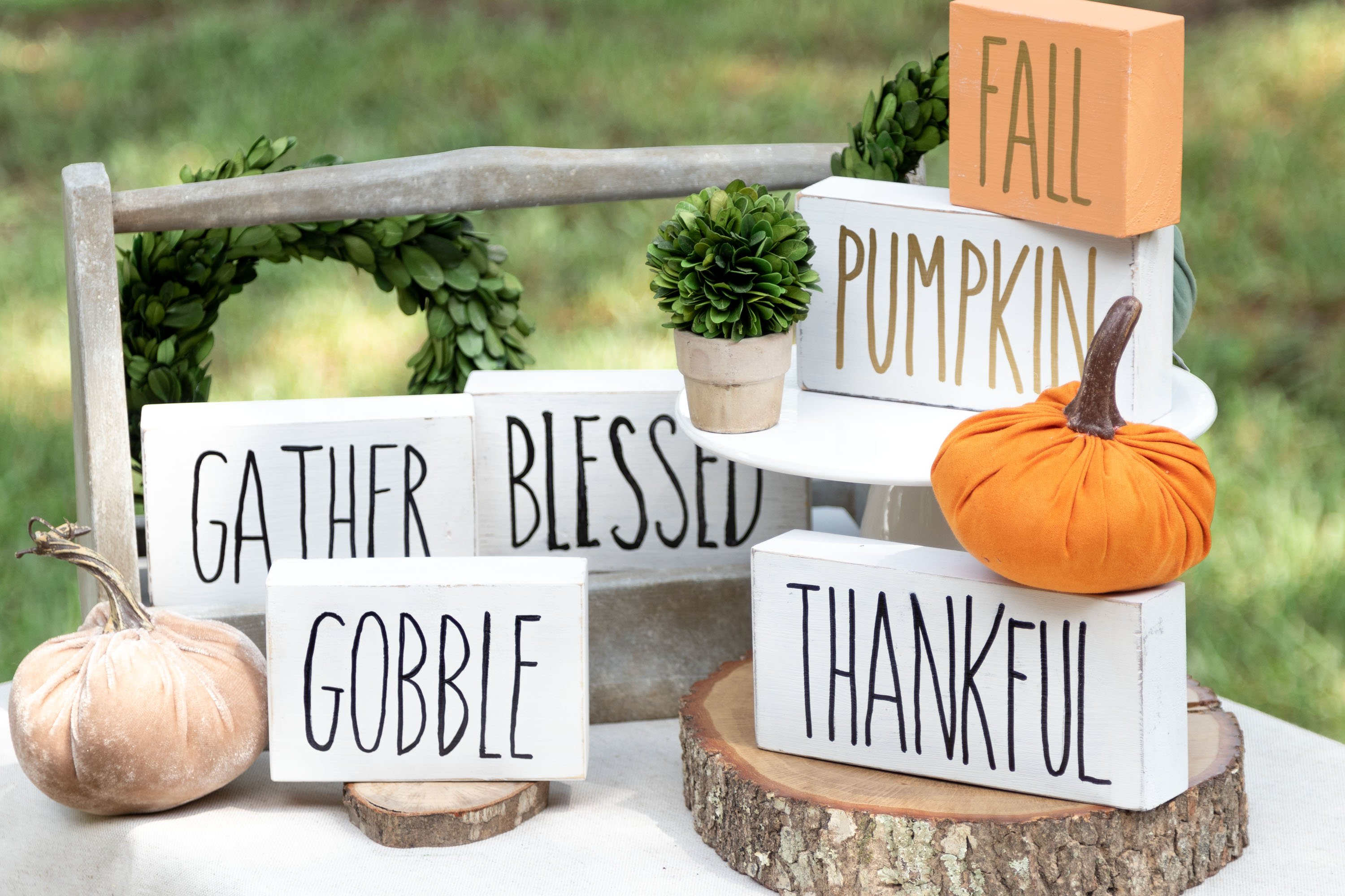 Rae Dunn Inspired Fall Signs which is a feature for Waste Not Wednesday-169 by Kippi At Home | www.raggedy-bits.com