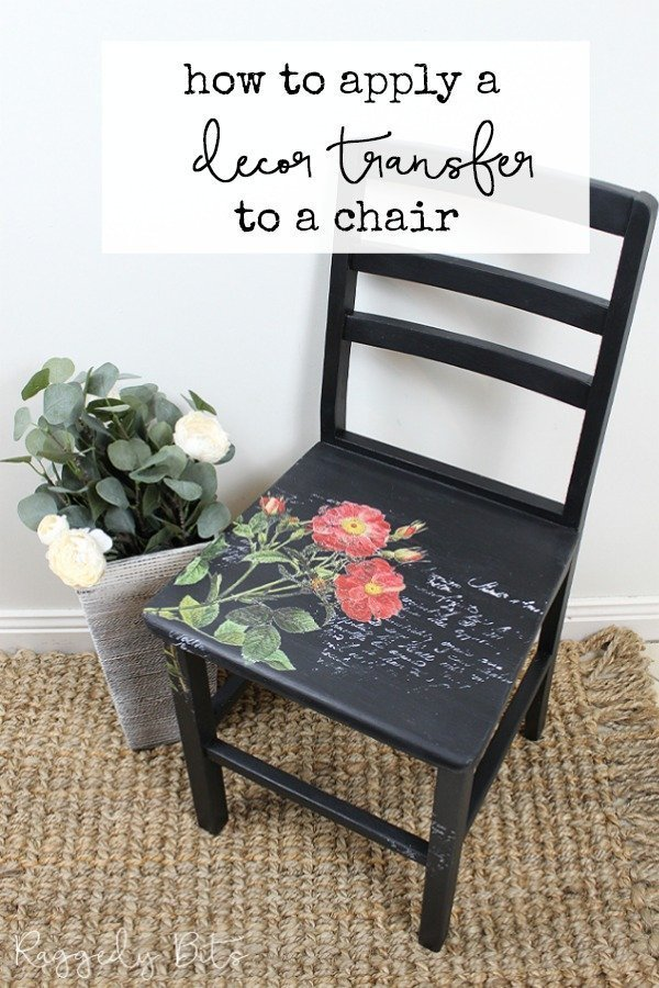 5 Chair Painting Challenge - Project 4 - How To Decor Transfer And Stamp A Chair. Come and join in all the fun and see 5 different ways on how to paint a chair using different techniques | www.raggedy-bits.com | #raggedybits #DIY #paintedfurniture #FusionMineralPaint #decortransfer #upcycle #farmhouse #5chairpaintingchallenge