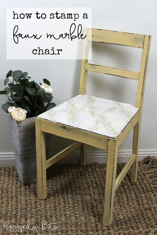 5 Chair Painting Challenge - Project 2 - How To Stamp A Faux Marble Chair. Come and join in all the fun and see 5 different ways on how to paint a chair using different techniques | www.raggedy-bits.com | #raggedybits #DIY #paintedfurniture #FusionMineralPaint #stamp #fauxmarble #IOD #upcycle #farmhouse