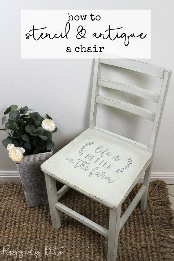 5 Chair Painting Challenge - Project 3 - How To Stencil and Antique A Chair. Come and join in all the fun and see 5 different ways on how to paint a chair using different techniques | www.raggedy-bits.com | #raggedybits #DIY #paintedfurniture #FusionMineralPaint #antiquetechnique #stencil #upcycle #farmhouse #5chairpaintingchallenge