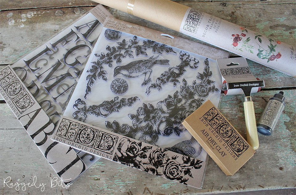Your one stop shop for all your IOD products to add that extra something special to your next proejct | www.raggedy-bits.com | #raggedybits #DIY #IOD #paintedfurniture #decorstamps #decortransfers #airdryclay #brayer #ink