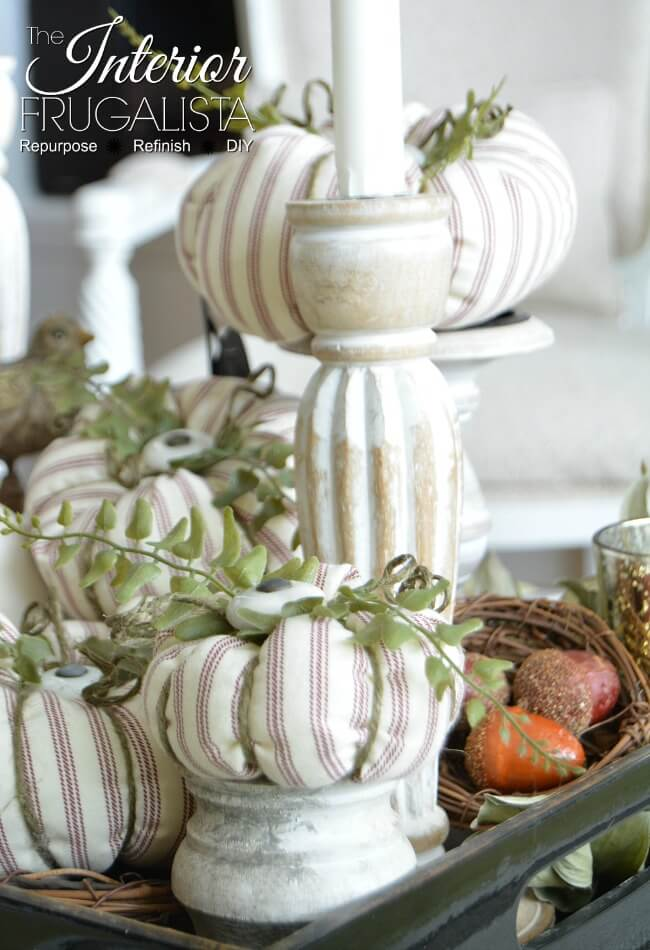 Ticking Fabric Pumpkins with Cabinet Knob Stems which is a feature for Waste Not Wednesday-175 by The Interior Frugalista | www.raggedy-bits.com