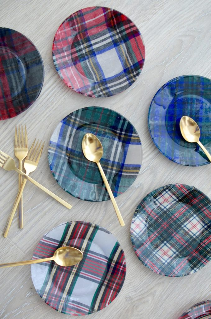 DIY Plaid Fabric Glass Plates which is a feature for Waste Not Wednesday-180 by The Style Safari | www.raggedy-bits.com