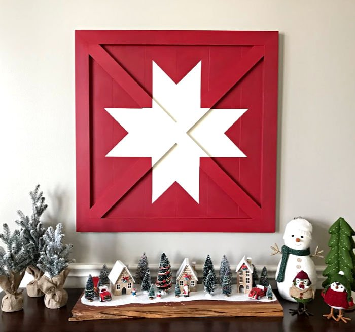 Wooden DIY Barn Star Art which is a feature for Waste Not Wednesday-183 by Abbotts At Home | www.raggedy-bits.com