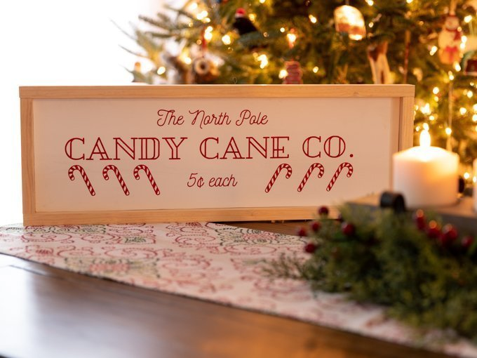 Candy Cane Sign which is a feature for Waste Not Wednesday-185 by Handmade Weekly | www.raggedy-bits.com