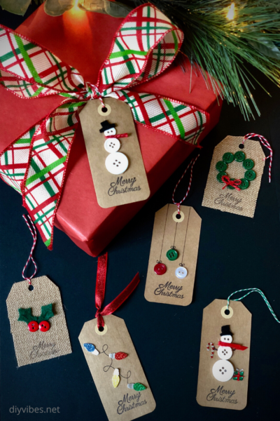 DIY Christmas Gift Tags which is a feature for Waste Not Wednesday-186 DIY Vibes | www.raggedy-bits.com