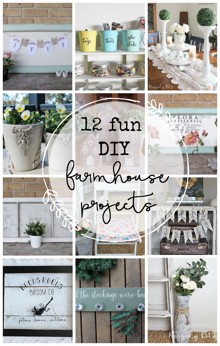 Sharing a collection of 12 Fun DIY Farmhouse Projects that you can make too | www.raggedy-bits.com | #raggedybits #DIY #farmhouse #craft #homedecor #repurpose #upcycle