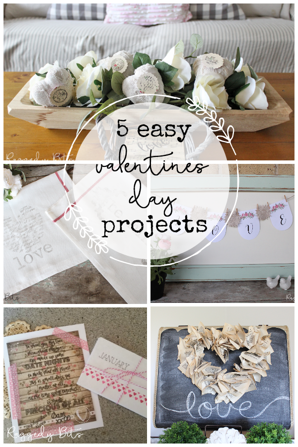 Sharing 5 Easy Valentines Day Projects that you can make to and add some love sprinkles around your home | www.raggedy-bits.com | #raggedybits #vintage #farmhouse #DIY #valentinesday #decorate #homedecor