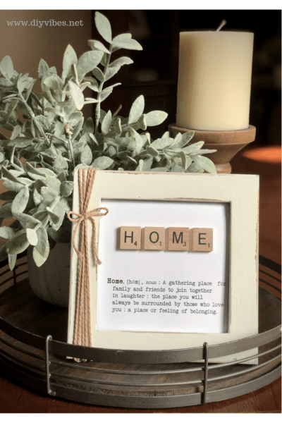 Scrabble Tile Frame which is a feature for Waste Not Wednesday-187 by DIY Vibes | www.raggedy-bits.com