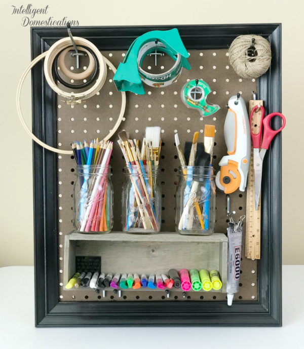 DIY Framed Peg Board which is a feature for Waste Not Wednesday-188 by Intelligent Domestications | www.raggedy-bits.com