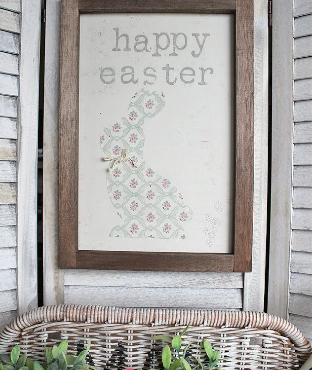 Sharing a fun DIY on How To Make A Farmhouse Napkin Bunny Sign using Fusion Mineral Paint and IOD Decor Stamps | www.raggedy-bits.com | #raggedybits #diy #napkin #IOD #fusionmineralpaint #easter #bunny #sign #farmhouse