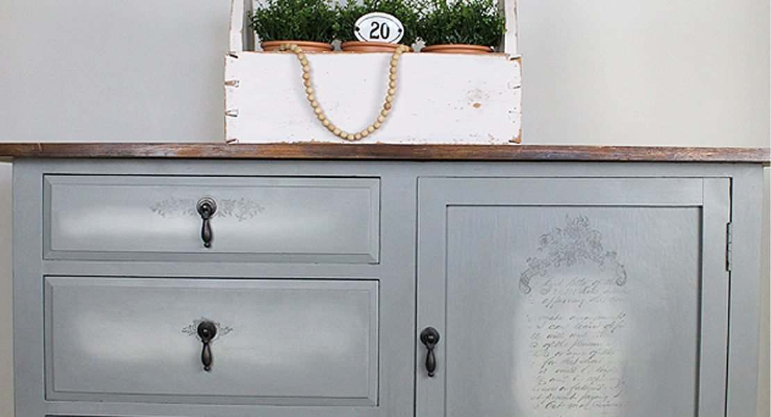 Sharing how I transformed this old sideboard that was missing it's top using Fusion Mineral Paint - Sacred Sage and IOD Decor Stamps | How To Paint A French Farmhouse Sideboard Using The Blending Technique | www.raggedy-bits.com | #raggedybits #french #farmhouse #DIY #repurpose #upcycle #fusionmineralpaint #IOD #painted #furniture