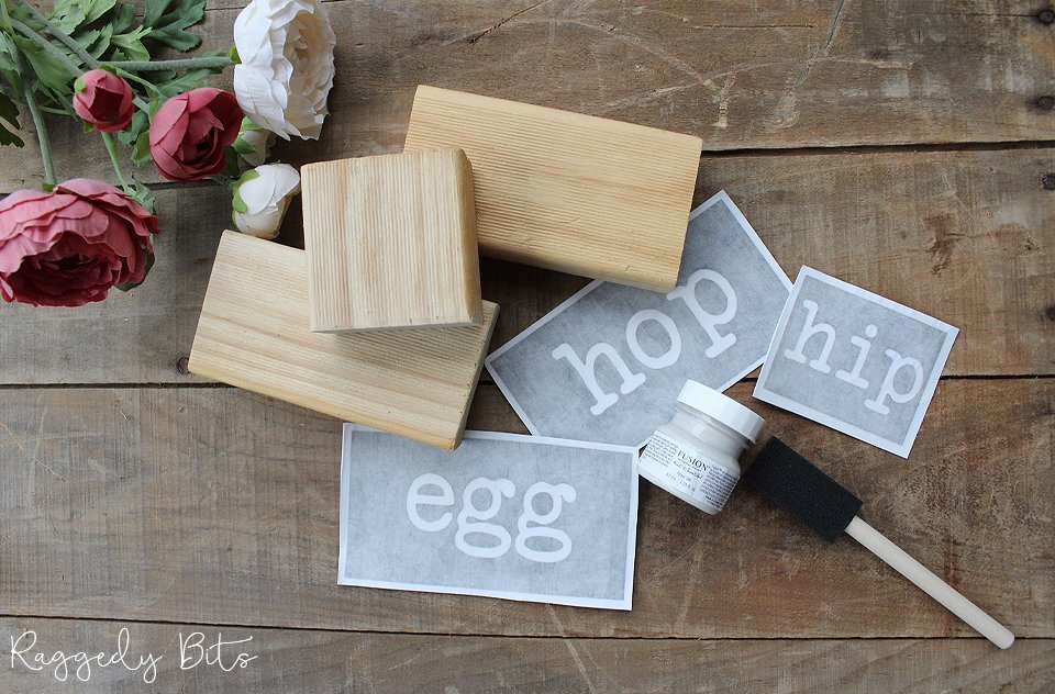 Have fun transforming some plain timber blocks using stamps | DIY Stencilled Easter Block Kit | www.raggedy-bits.com