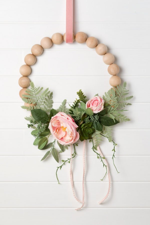 Learn How To Make A Gorgeous Wreath with Peonies and Wood Split Balls which is a feature for Waste Not Wednesday-195 by Kippi At Home | www.raggedy-bits.com