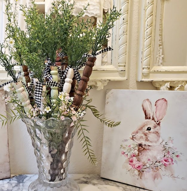 Repurpose Your Old Crib Spindles Into Spring Carrots which is a feature for Waste Not Wednesday-196 by Penny's Vintage Home | www.raggedy-bits.com
