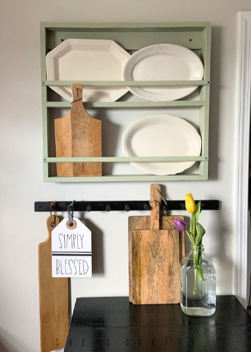 DIY Dowel Peg Rack which is a feature for Waste Not Wednesday-197 by She's Crafty | www.raggedy-bits.com