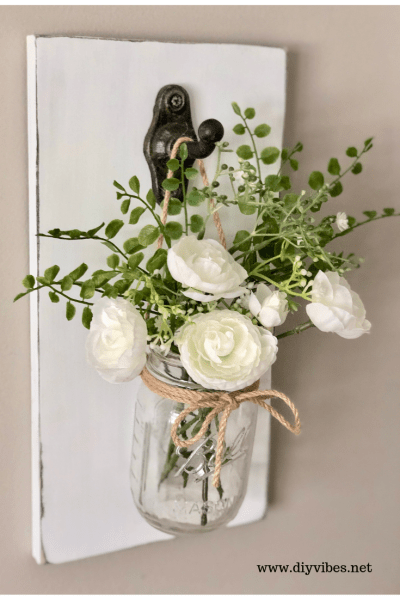 DIY Farmhouse Mason Jar Wall Decor which is a feature for Waste Not Wednesday-197 by DIY Vibes | www.raggedy-bits.com