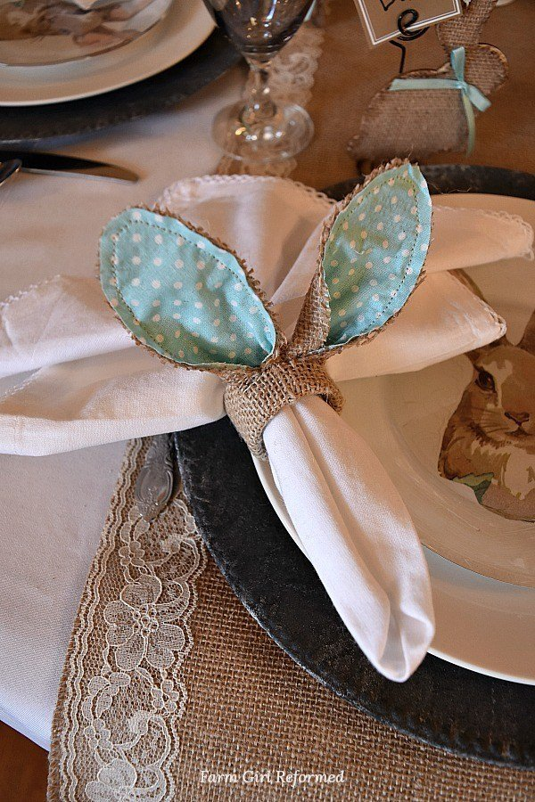 DIY Bunny Napkin Rings which is a feature for Waste Not Wednesday-198 by Farm Girl Reformed | www.raggedy-bits.com