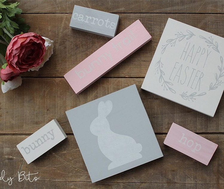 Have fun transforming some plain timber using stencils to decorate with this Easter | DIY Easter Sign Bundle Kit | www.raggedy-bits.com