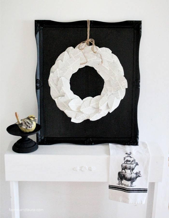 Int Bloggers Club -  Book Page Wreath With DIY All Black Chalkboard | www.raggedy-bits.com