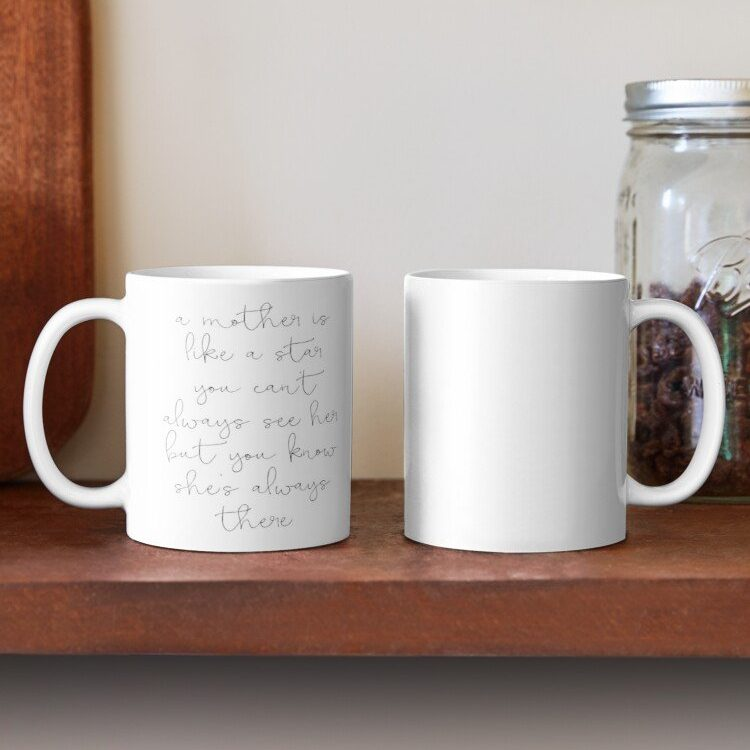 Have your next coffee in style with this Farmhouse A Mother Is Like A Star Coffee Mug | www.raggedy-bits.com | #raggedybits #coffee #coffeemug #coffeebar #homedecor #farmhouse