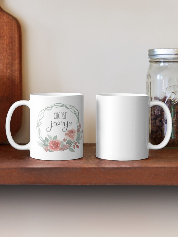 Have your next coffee in style with this Farmhouse Choose Joy Coffee Mug | www.raggedy-bits.com | #raggedybits #coffee #coffeemug #coffeebar #homedecor #farmhouse