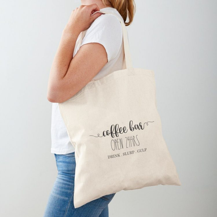Replace your plastic shopping bags with this fun Farmhouse Coffee Bar Cotton Tote   www.raggedy-bits.com   #raggedybits #shopping #bag #farmhouse #cottontote #tote