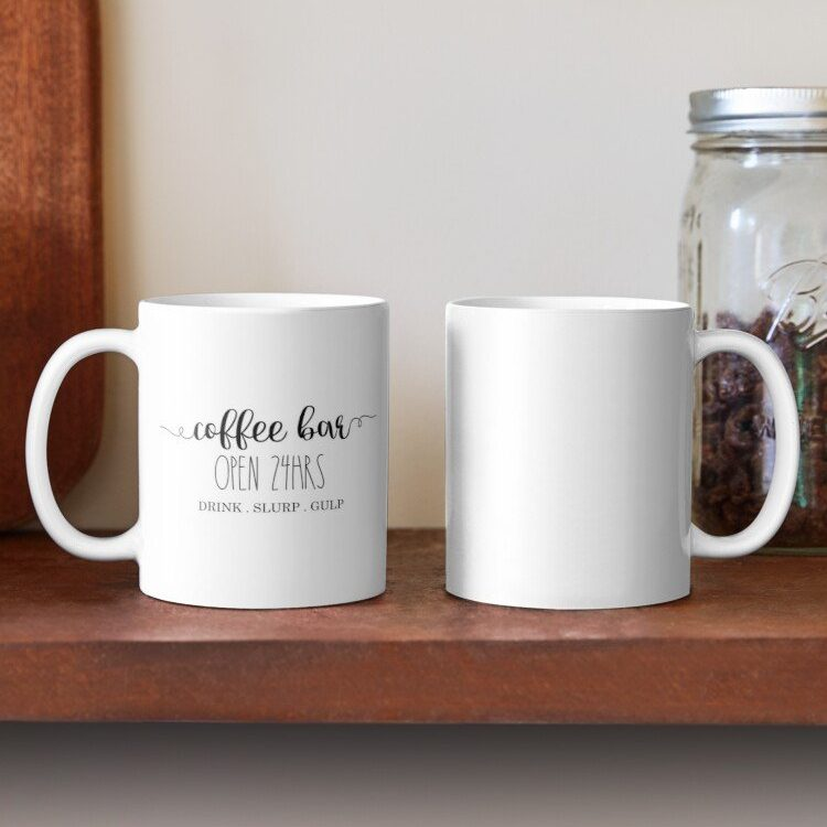 Have your next coffee in style with this Farmhouse Coffee Bar Mug | www.raggedy-bits.com | #raggedybits #coffee #coffeemug #coffeebar #homedecor #farmhouse